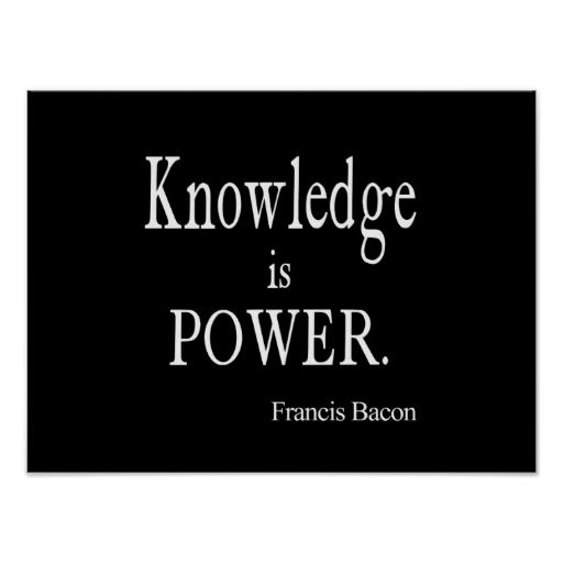 Vintage Francis Bacon Knowledge Is Power Quote Poster Quote Awesome Knowledge Is Power Quote