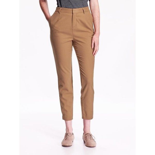 Old Navy Womens High Rise Twill Pants ($37) ❤ liked on Polyvore featuring pants, brown, petite, old navy, stretchy pants, petite stretch pants, high waisted white trousers and old navy pants