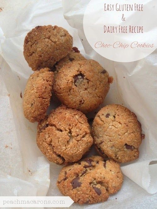 easy gluten free, dairy free, starch free recipe, choc chip cookies | peachmacarons.com