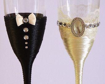 Bicchieri di Champagne Glasses Occhiali rustico matrimonio