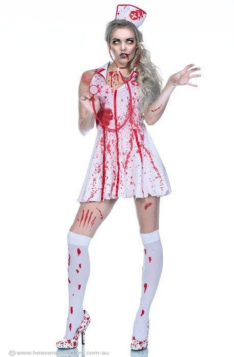 3b7542c0c3988 What a creepy nurse! how cool is this zombie nurse costume? Check it out