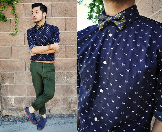 H Dog Printed Shirt, H Color Block Bow Tie, H Military Green ...