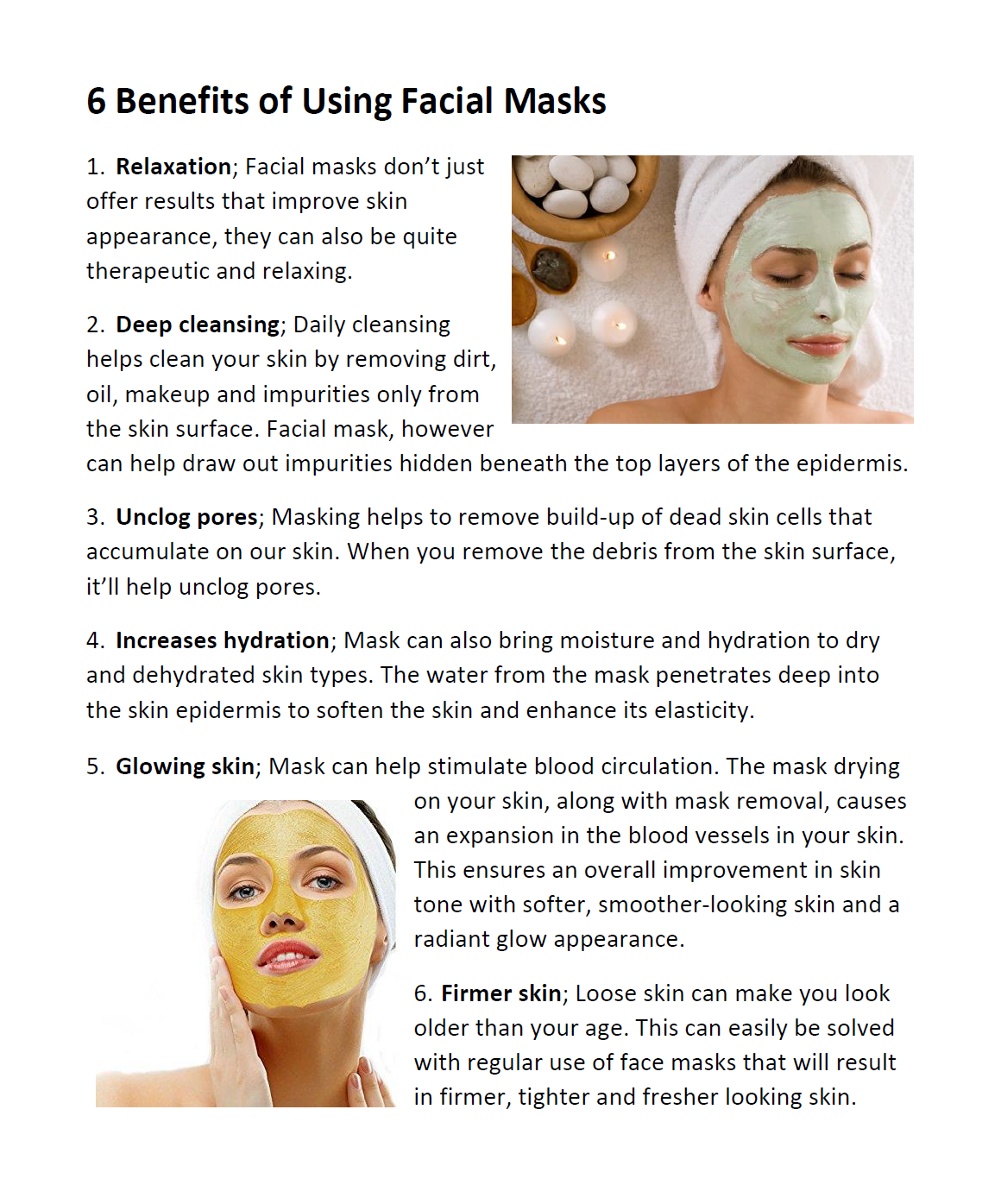 Benefits of facial mask