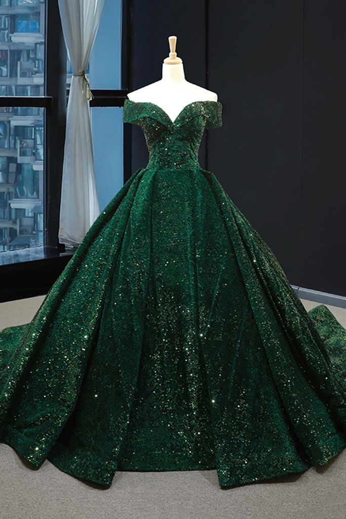 Real Picture Dark Green Sequins V Neck Sweep Train Formal Prom Dress, Special Occasion Dress