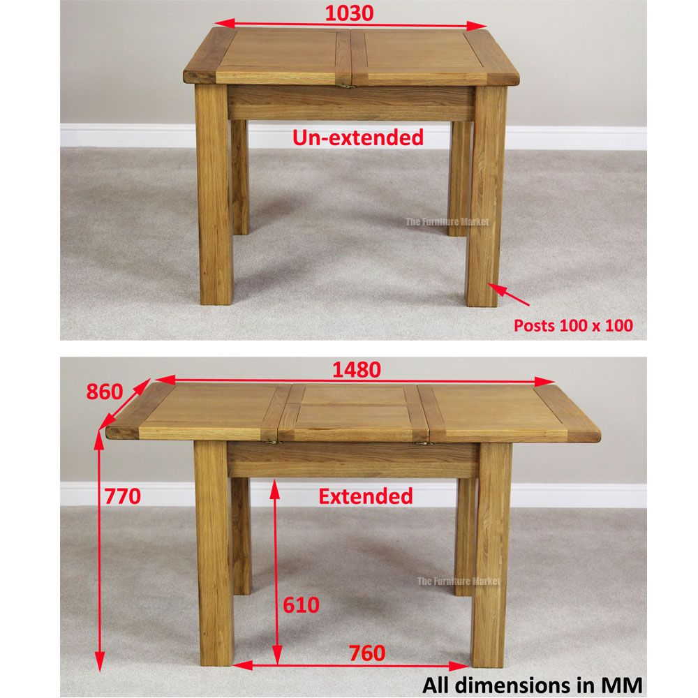 Rustic Oak Small 4 6 Seater Extending Dining Table Dining Table