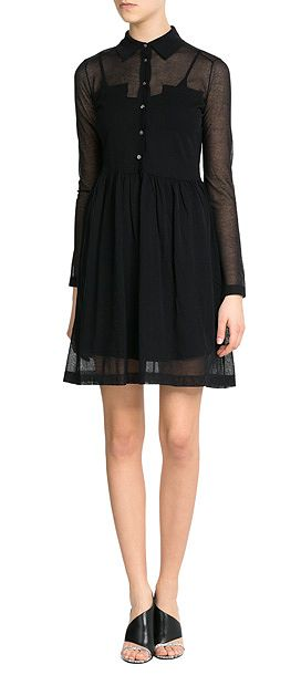 With a sheer overlay, Marc by Marc Jacobs' black 'Sofia' shirt dress is a pretty choice with a touch of drama. The sharp collar and buttoned front contrast the skin-showing finish #Stylebop