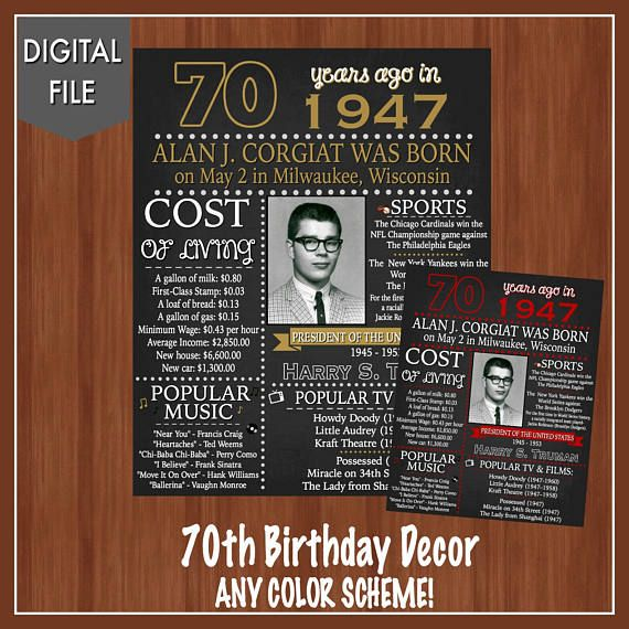 70th Birthday Sign - 70th Birthday - Fun Facts from 1949 ...
