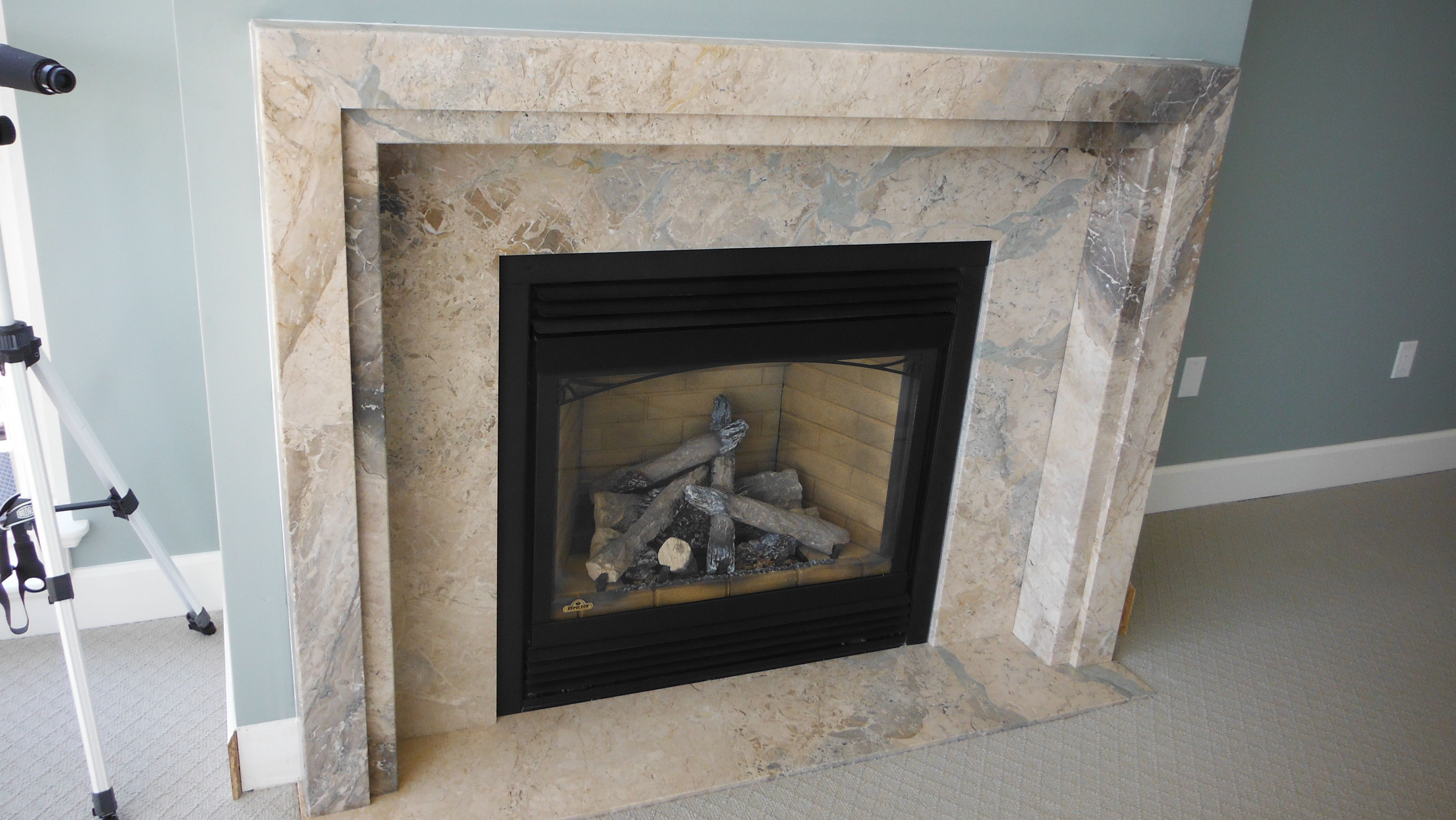 Custom Fireplace In Trizina Silver Travertine - Natural Stone Fireplaces