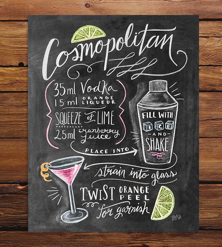 Cosmopolitan Recipe Chalkboard Art Print By Lily Amp Val On