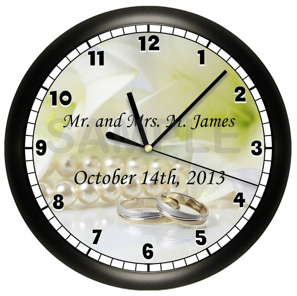 Wedding wall clock gift marriage personalized custom anniversary wedding wall clock gift marriage personalized custom anniversary couple bride amipublicfo Images