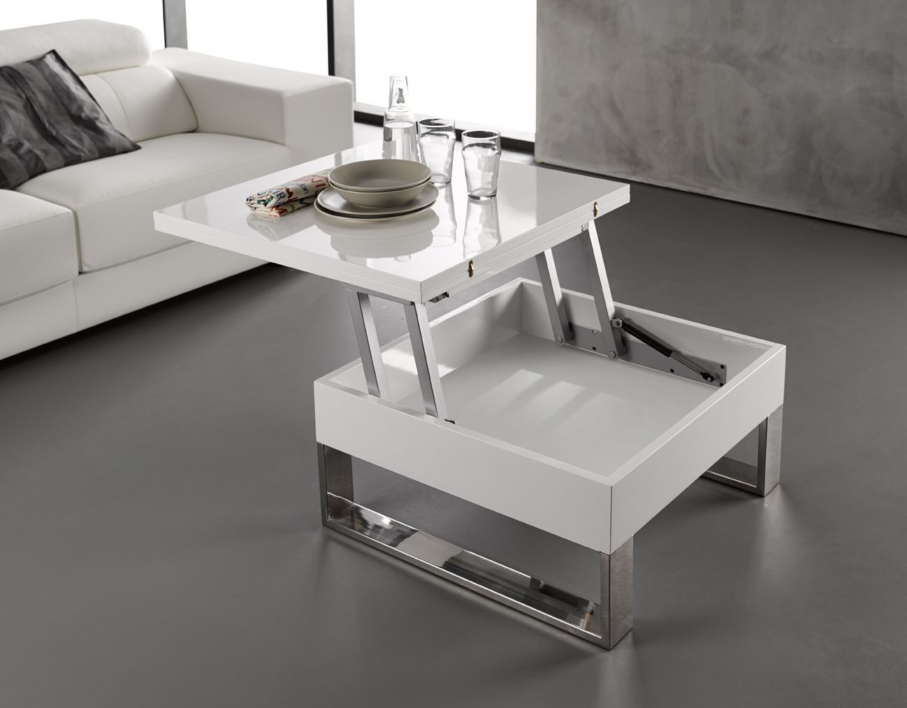 Etonnant Petite Table Basse Blanc Laque Center Table Living Room Furniture Transforming Furniture