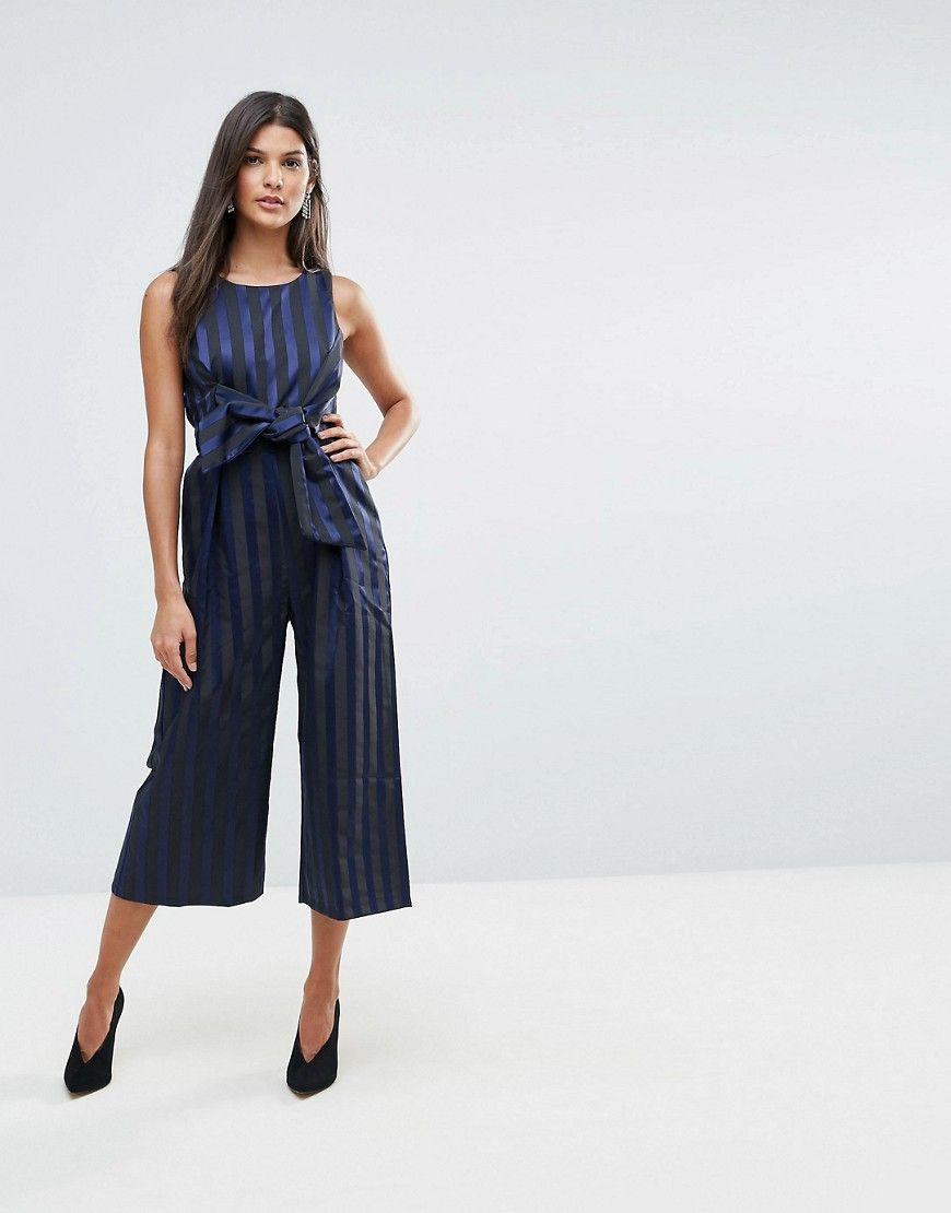 c4efdffd7b8 Closet Stripe Front Bow Culotte Jumpsuit - Blue