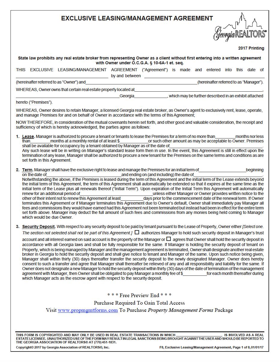Georgia Property Management Agreement Property Management