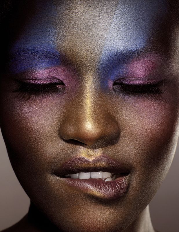 Pink/blue/gold amazing! | Dark skin makeup, Editorial ...