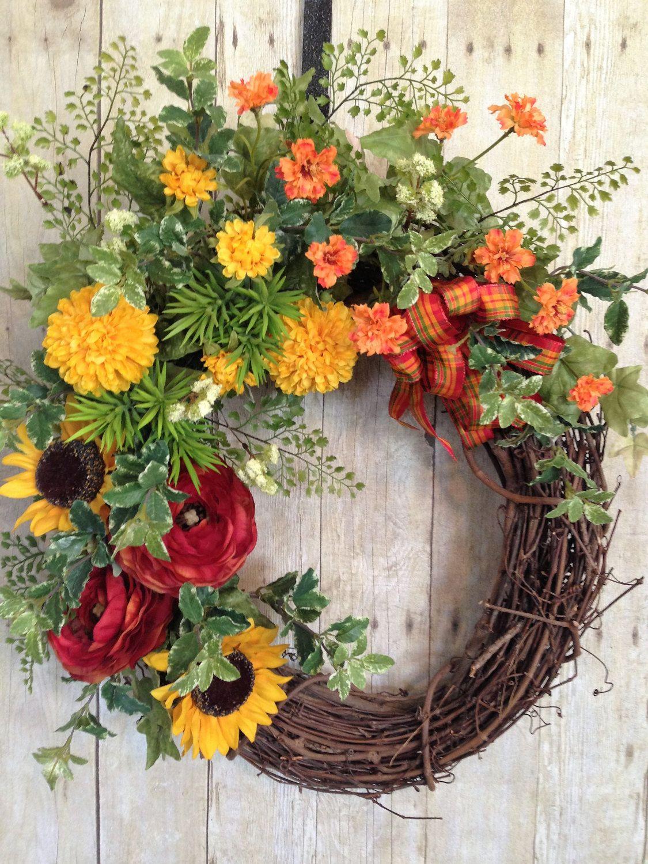 Front Door Wreath Spring Door Wreath  Summer Door Wreath  Outdoor Wreath   Grapevine