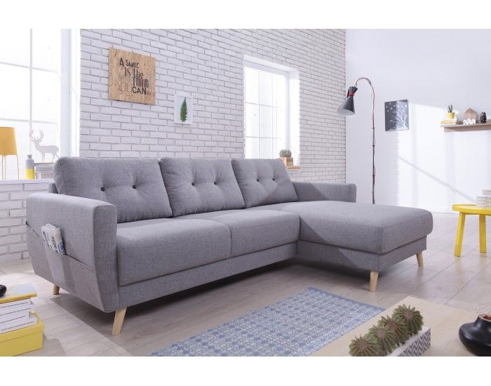 Oslo Canape D Angle Droite Convertible Gris Clair