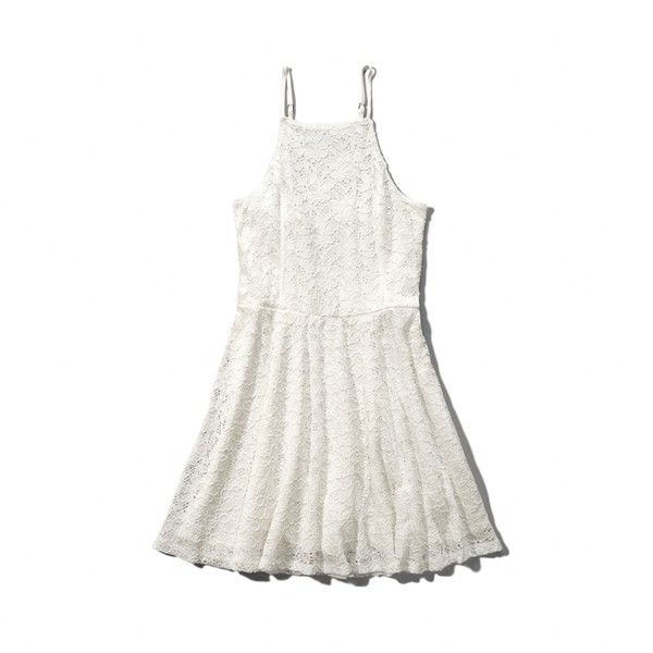 529e8d5c0 Abercrombie & Fitch High Neck Lace Skater Dress ($30) ❤ liked on Polyvore  featuring dresses, abercrombie, cream, cream dress, skater dress, lace dress,  ...