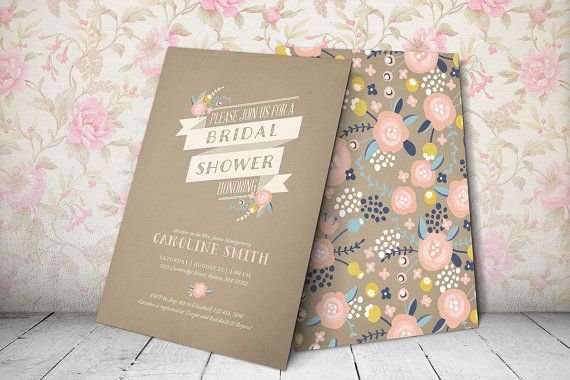 Printable Bridal Shower Invitation - Kraft Paper Bridal Shower Invitation (floral ribbon - kraft paper)