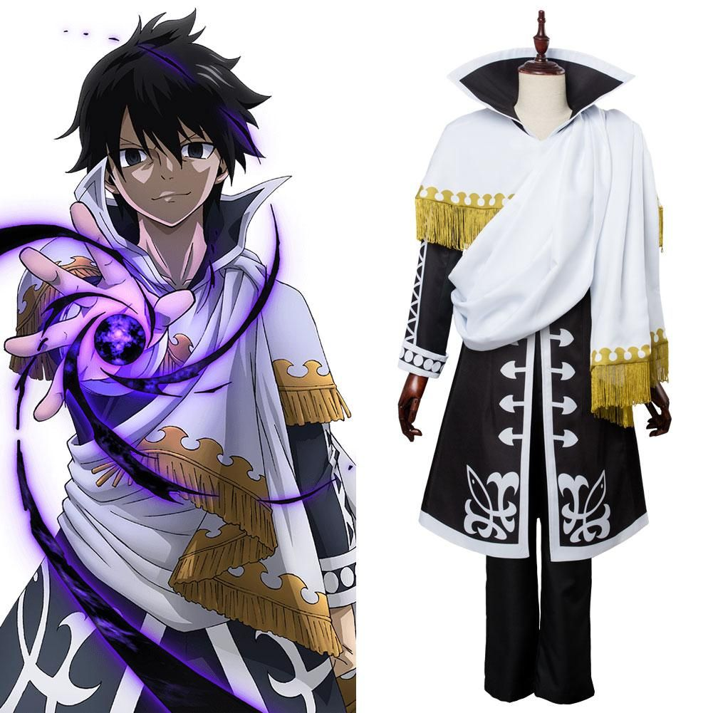 Anime Fairy Tail Natsu Dragneel black cloak Cosplay Costume coat outfit