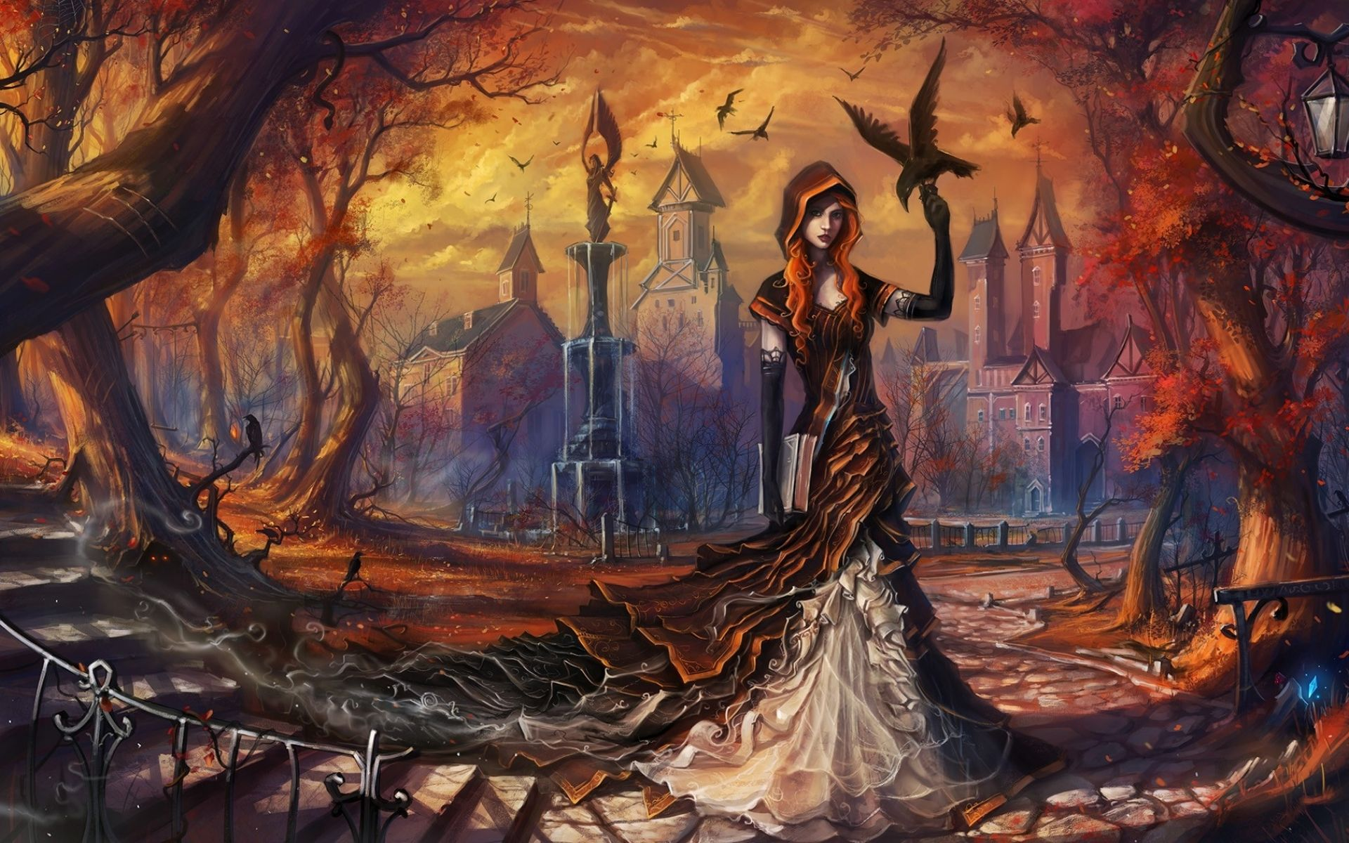 Wallpaper HD Fantasy Gothic Halloween Girl Witch