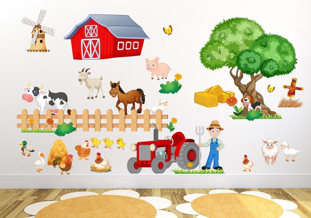 020 Wandtattoo Bauernhof Wandtattoo Kinderzimmer Tiere Wandtattoos Wandtattoo Tiere