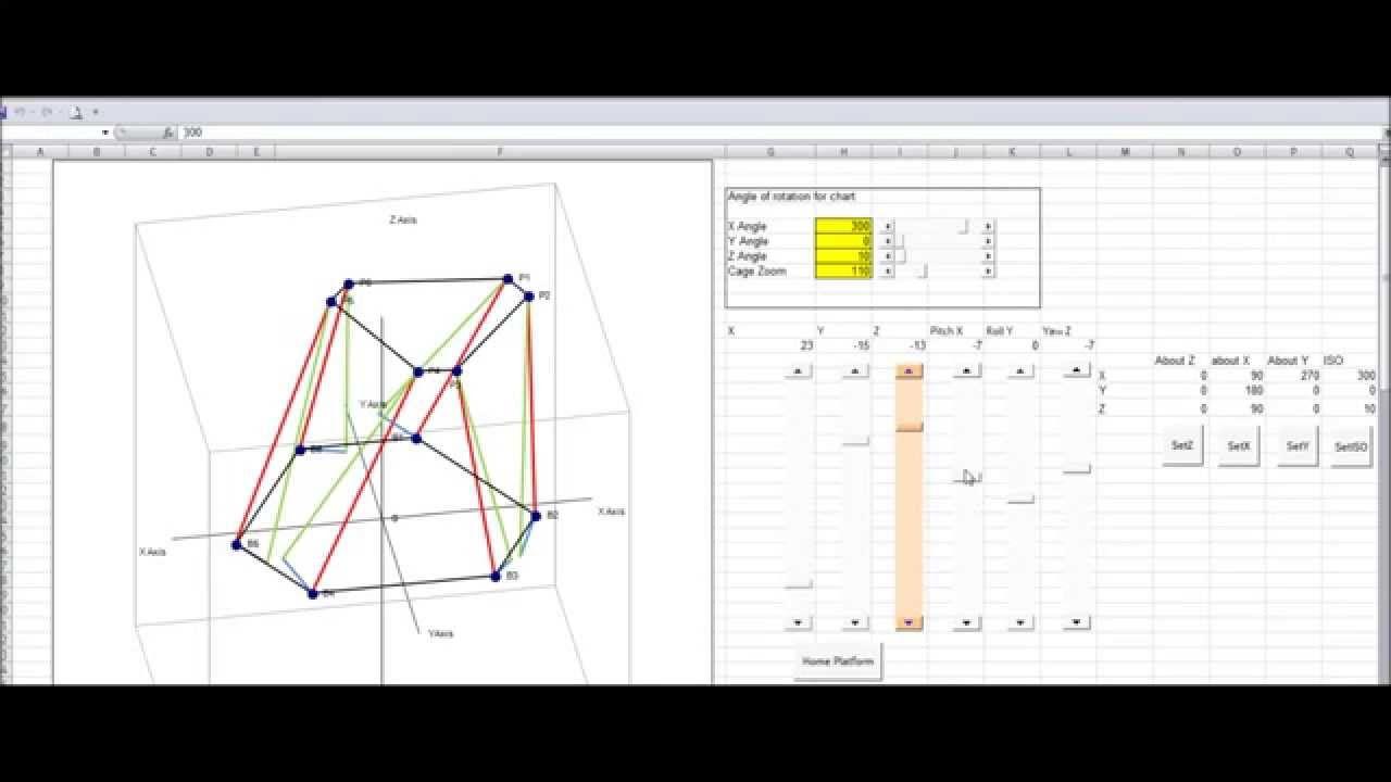 6DOF Stewart Platform - RC servo's - Excel simulator   video in 2019