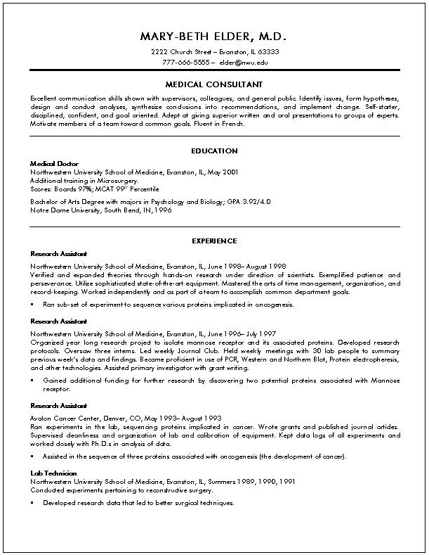 Curriculum Vitae Medical Doctor Template - http://www.resumecareer ...