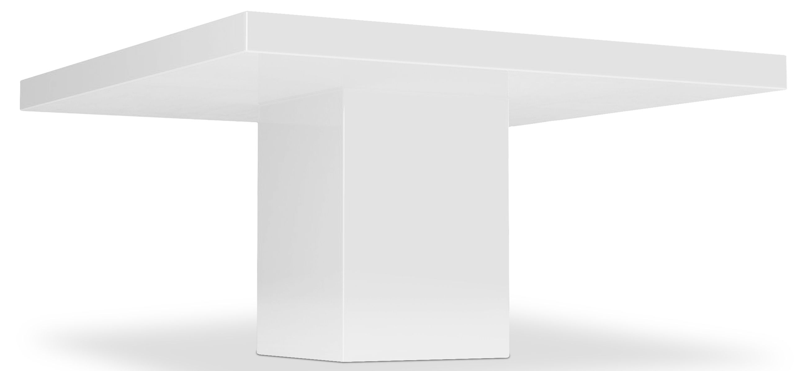 table carrée haute qualité laqué blanc | salle à manger
