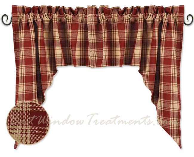 Superior Millbrook Check Barn Red Swag Curtains