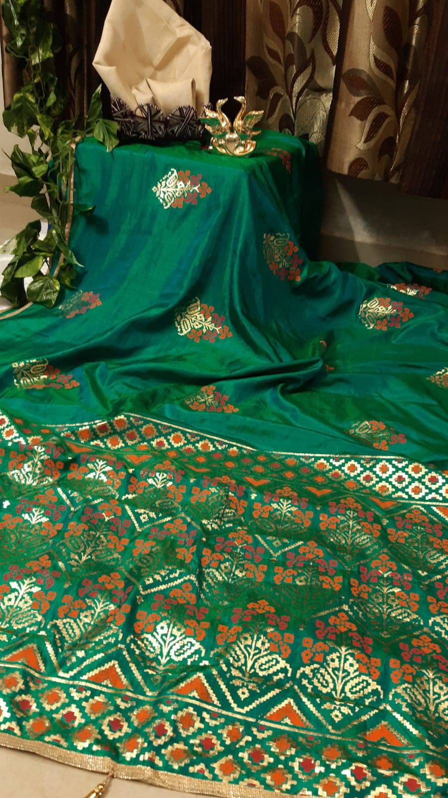 Photo of Slub Silk saree with  beautiful foil design/ green saree/ wedding saree/ designer saree/ saree for women/ sarees/ saree blouse/ saree