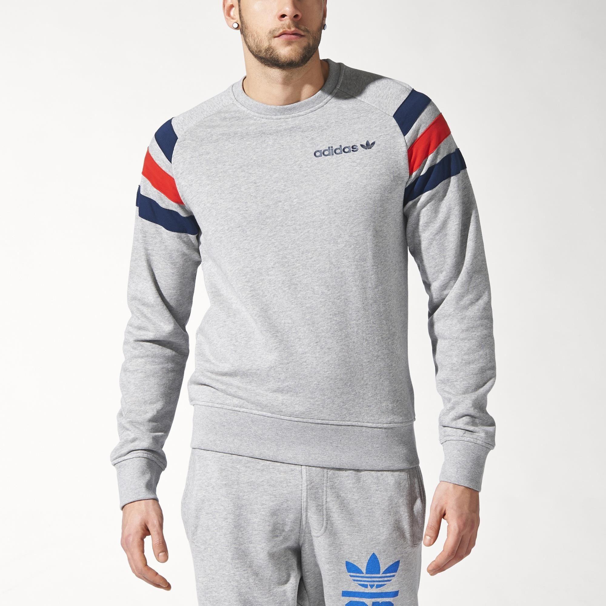 Adidas Fitted French Terry Sweatshirt Grau Adidas Deutschland Sweatshirt Cooler Look Manner [ 2000 x 2000 Pixel ]