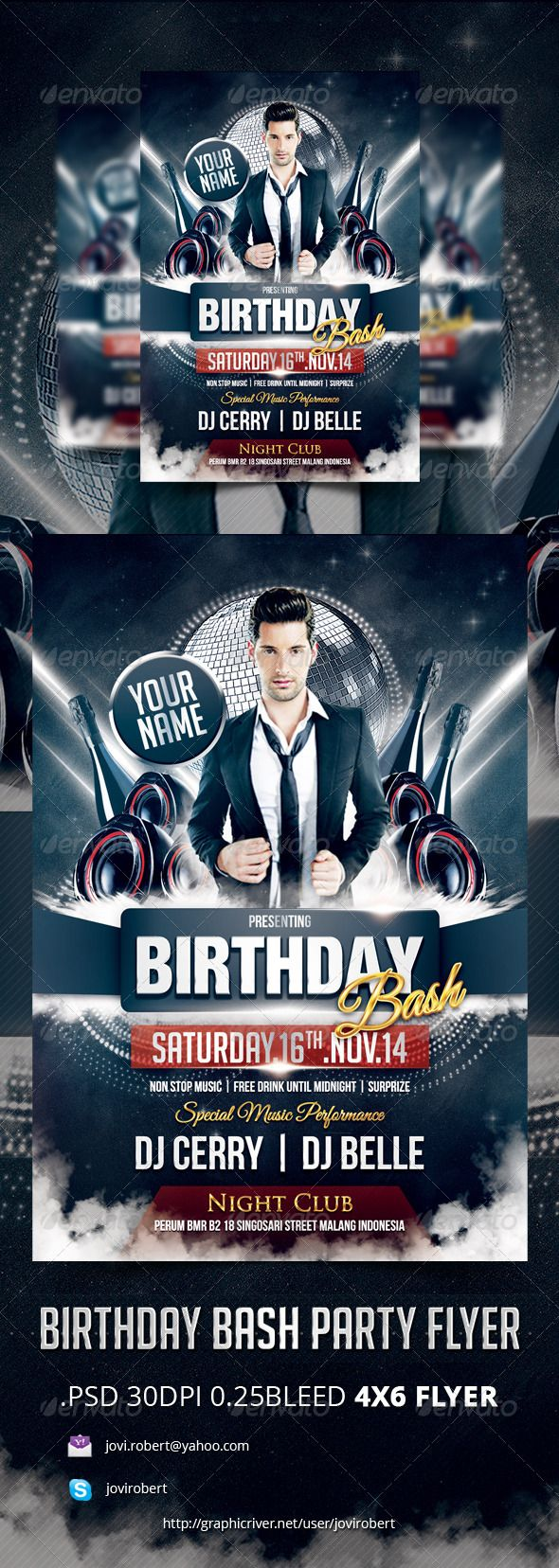 Birthday Bash Party Flyer | Party flyer, Birthday bash and Men party