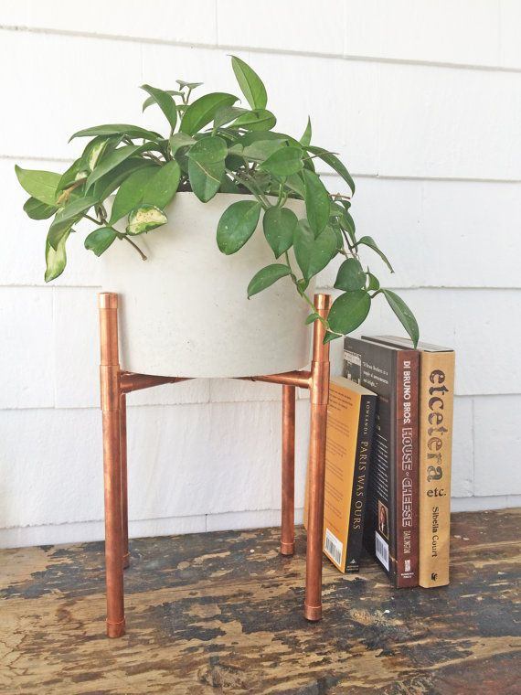 Copper And Concrete Planter Modern Plant Stand Planter