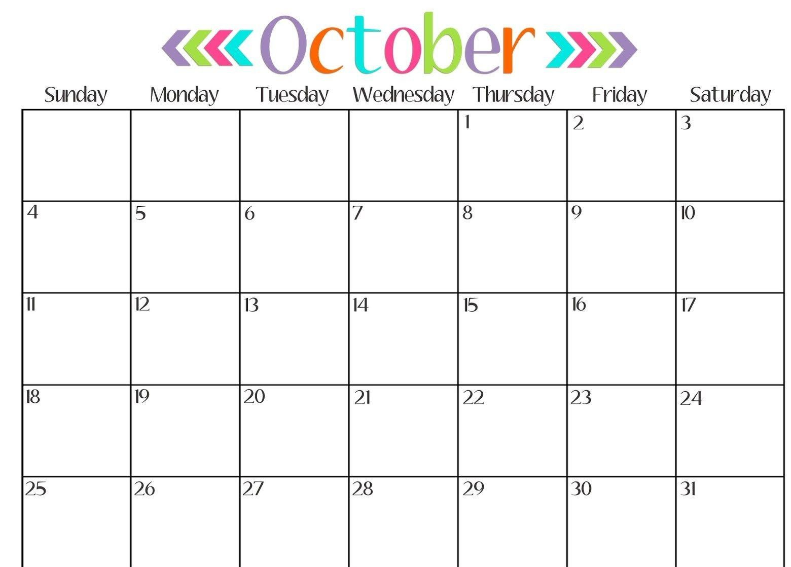 October Calendar Printable With Notes