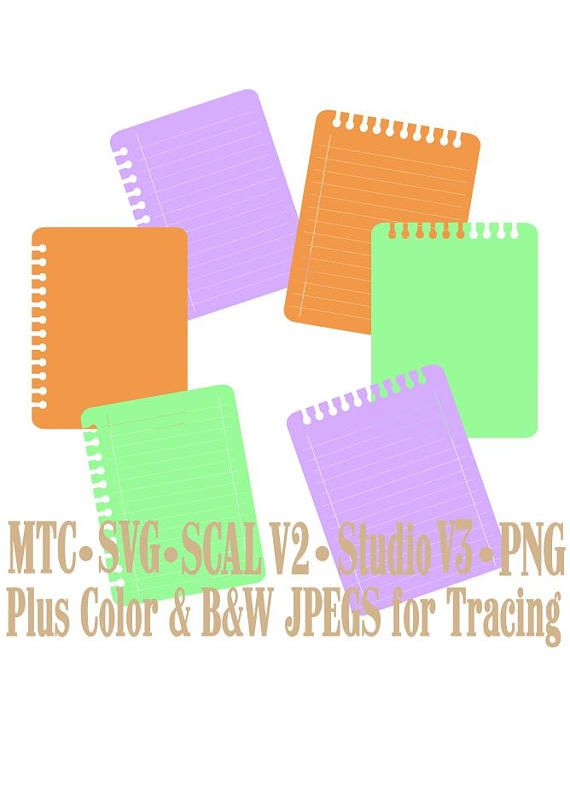 SVG Cut File Notebook Paper Bundle of 6 MTC SCAL Cameo Silhouette - notebook paper download