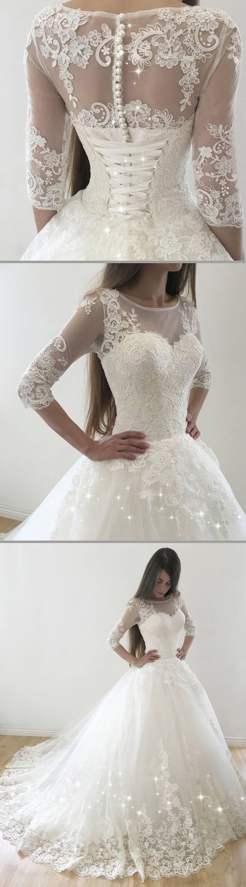 Vintage Tulle Bateau Neckline Ball Gown Wedding Dresses With Lace Appliques #tulleballgown