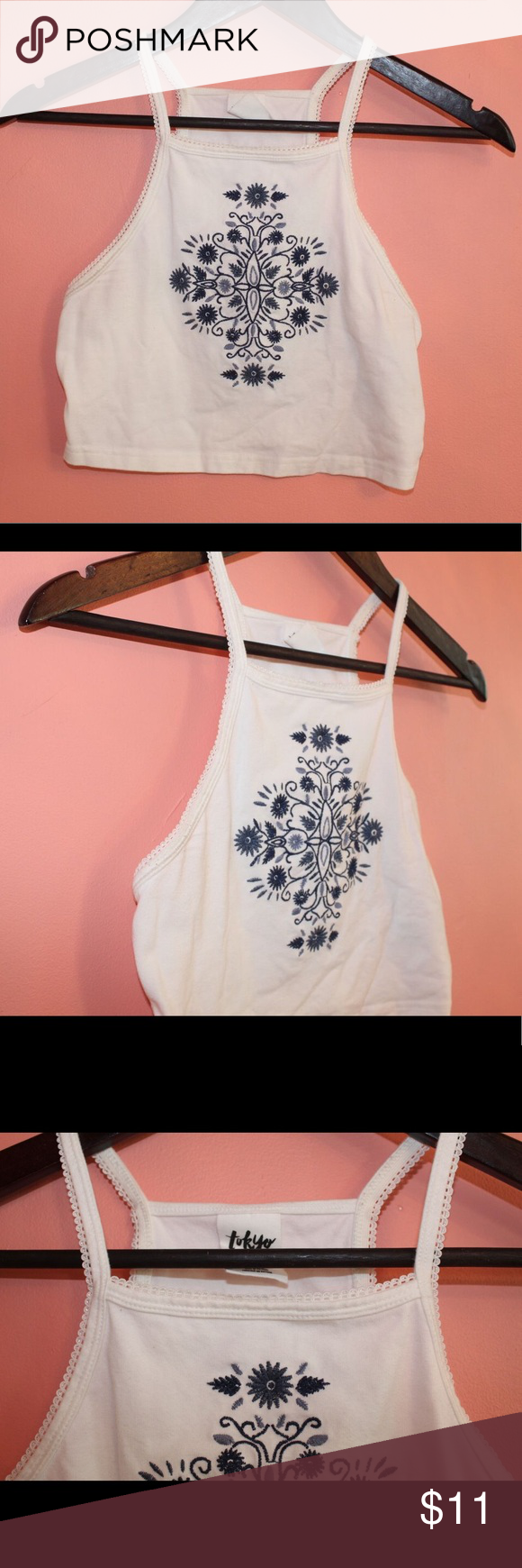 White and blue halter top! In great condition. No stains, wears or tears. Tokyo Darling Tops Tank Tops