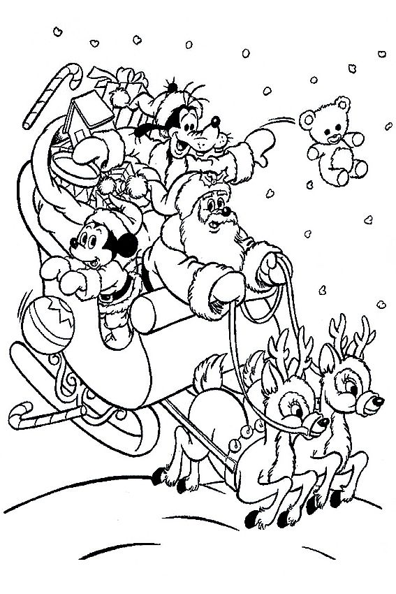 Mickey Mouse Coloring Page Christmas Coloring Pages Cartoon