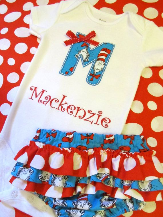 37b888ce Cat in the Hat Onesie and Ruffled Diaper Cover Set- Dr. Seuss Appliqued  Onesie Set- Cat in the Hat Personalized Set