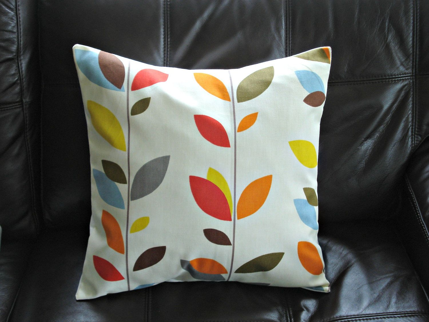 Pillow orange blue olive red yellow grey gray brown 18 inch leaf design cushion shams fabric covers handmade. $25.00, via Etsy.
