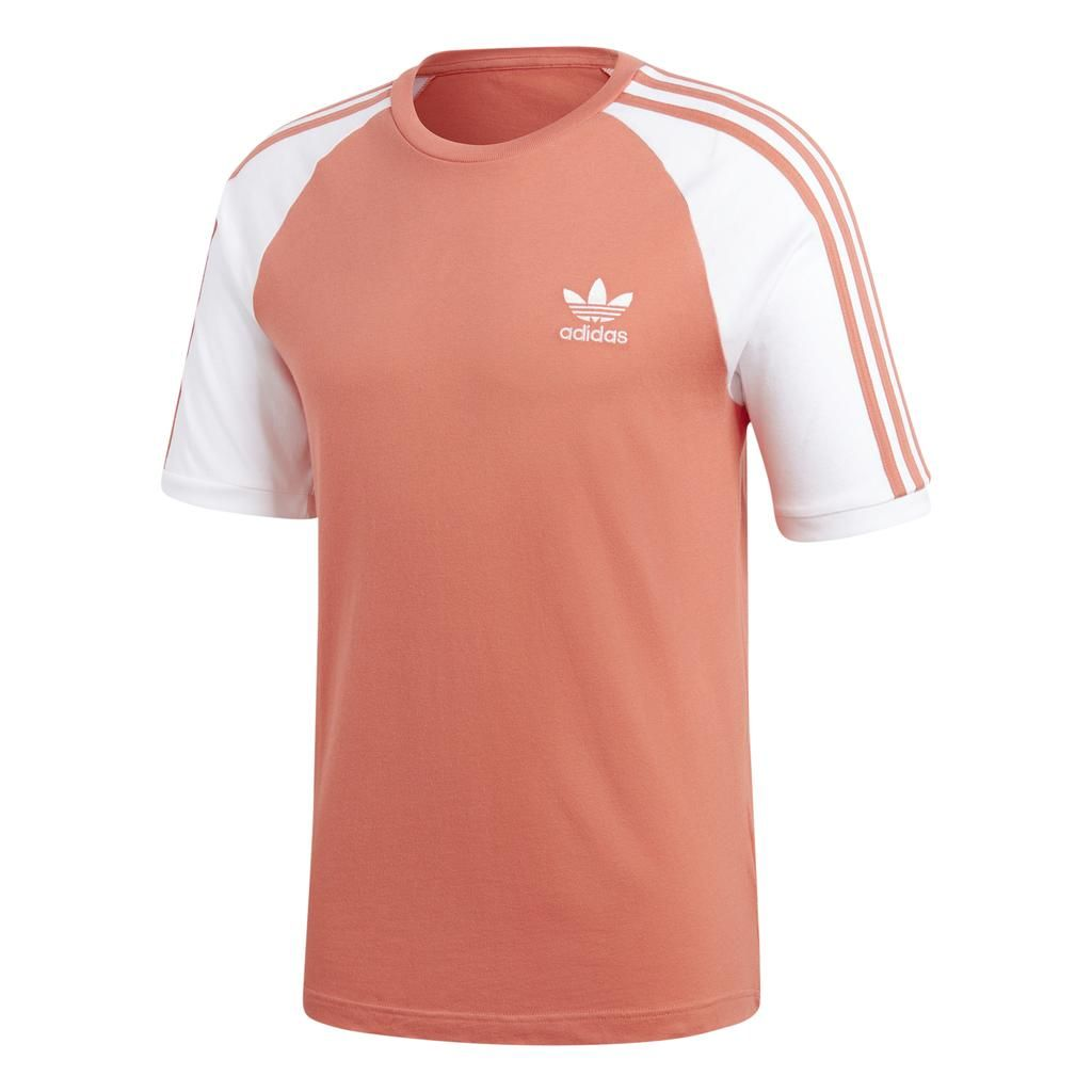 Adidas 3 Stripe Tee CW1204 in Pink Trace Scarlet   Striped