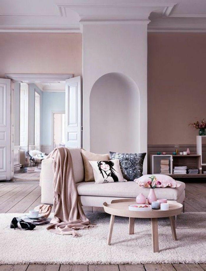 suggestion raffinee couleur peinture salon rose canape dans la meme gamme petite table en bois sympa