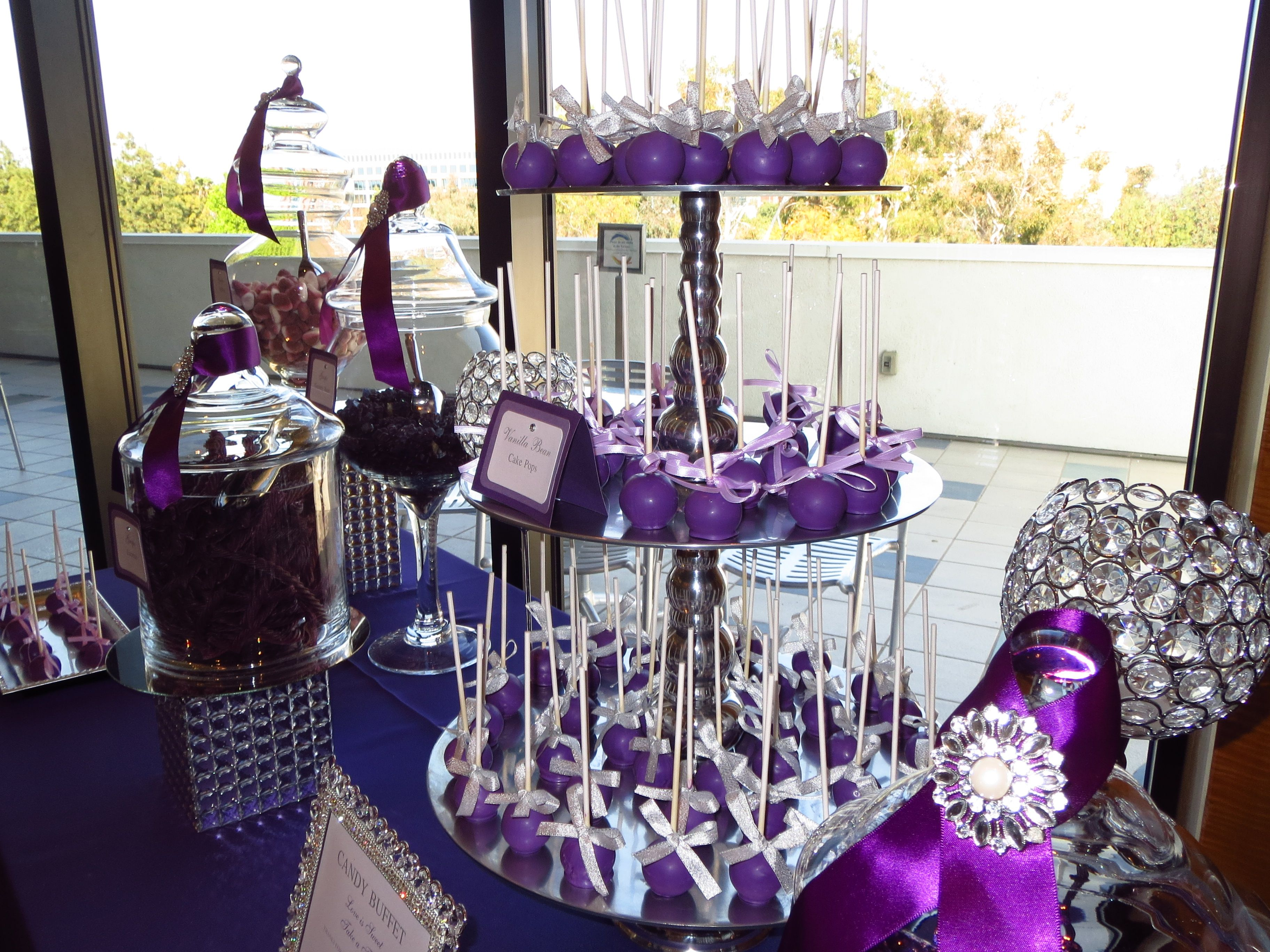 Purple Candy Buffet With Diamond Brooch By Oc Sugar Mama Purple Candy Buffet Silver Candy Buffet Elegant Candy Buffet