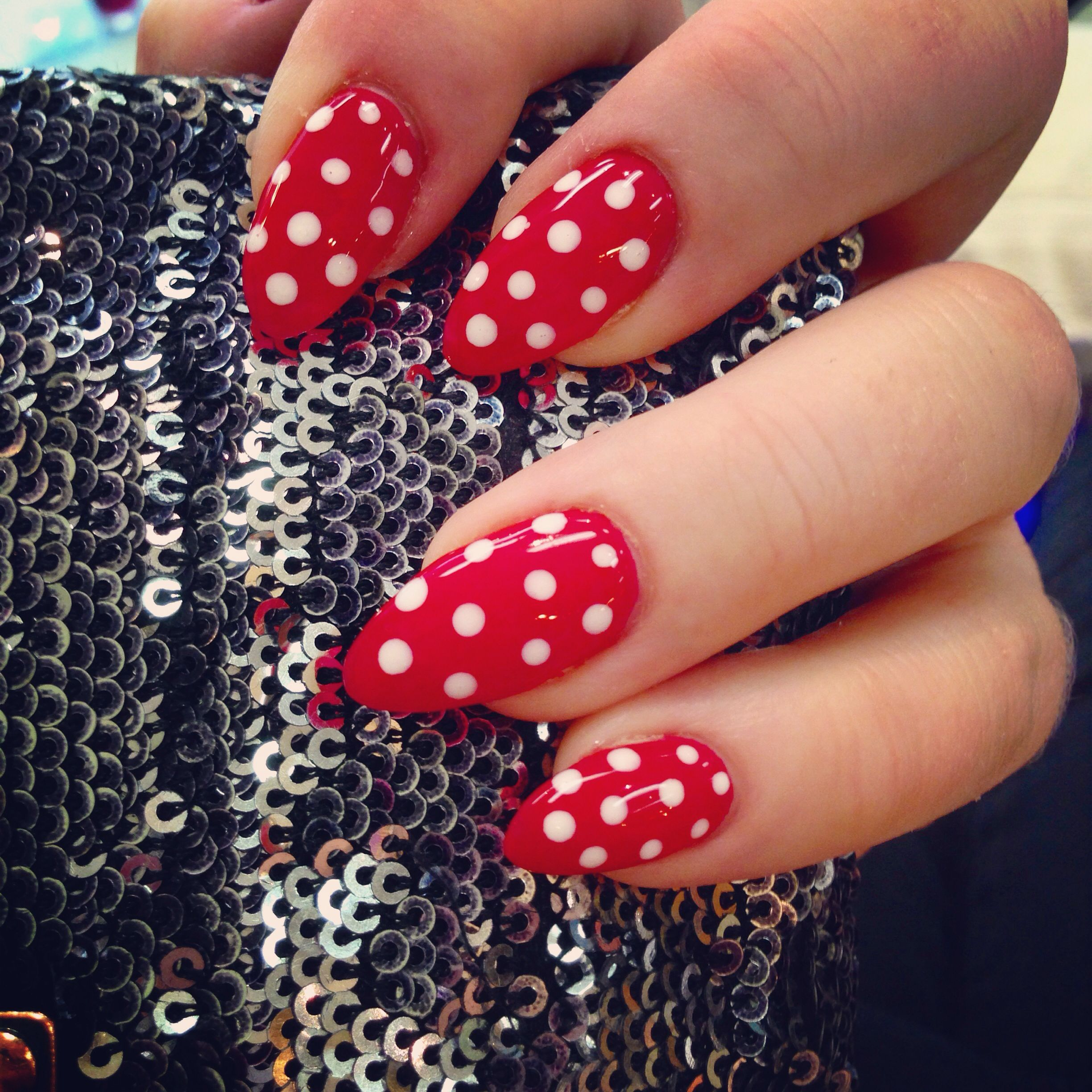 Red Almond Shaped Gel Nails White Polka Dots Polka Dot Nail Art Polka Dot Nails Dot Nail Art