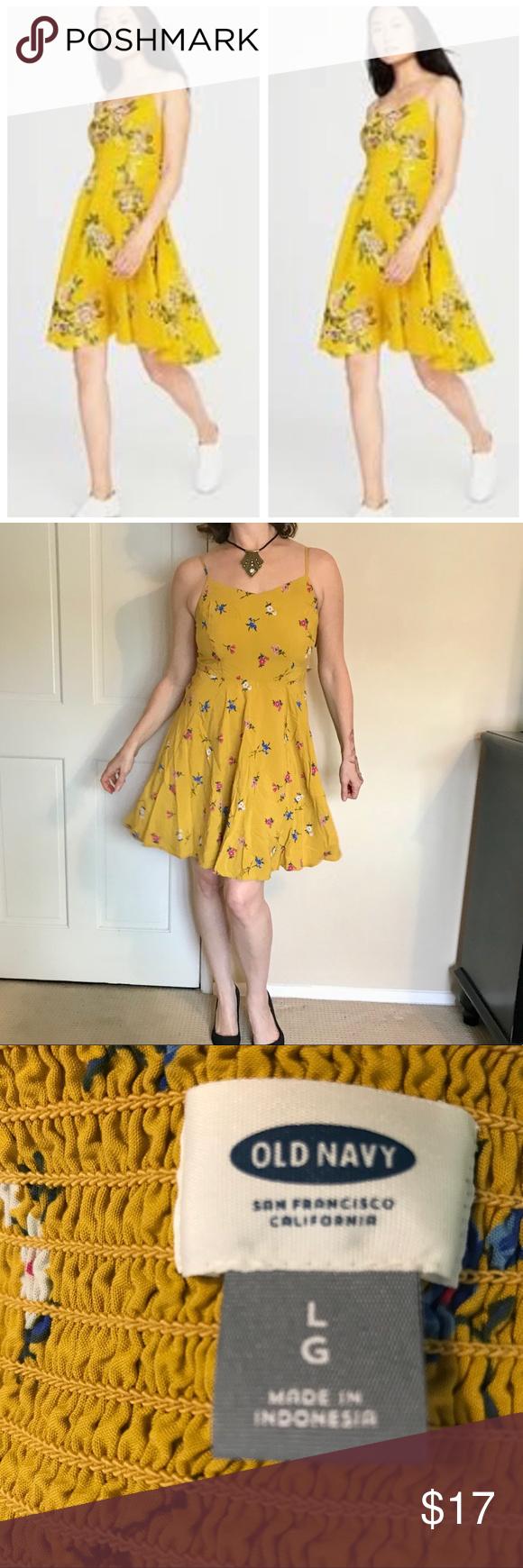 5b9b9202f1b YELLOW floral sundress DRESS mustard print M L Very cute floral print dress  in a