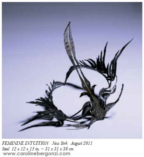"Art studio glimpse: #Steel sculpture by #CarolineBergonzi.  ""On the flow of winged designs, #FEMININEINTUITION appears as a small delicate crown, a residual piece.""C.B.  Extract of the ""Caroline Bergonzi Creative Odyssey"" 400-page art book, available on #Amazon."