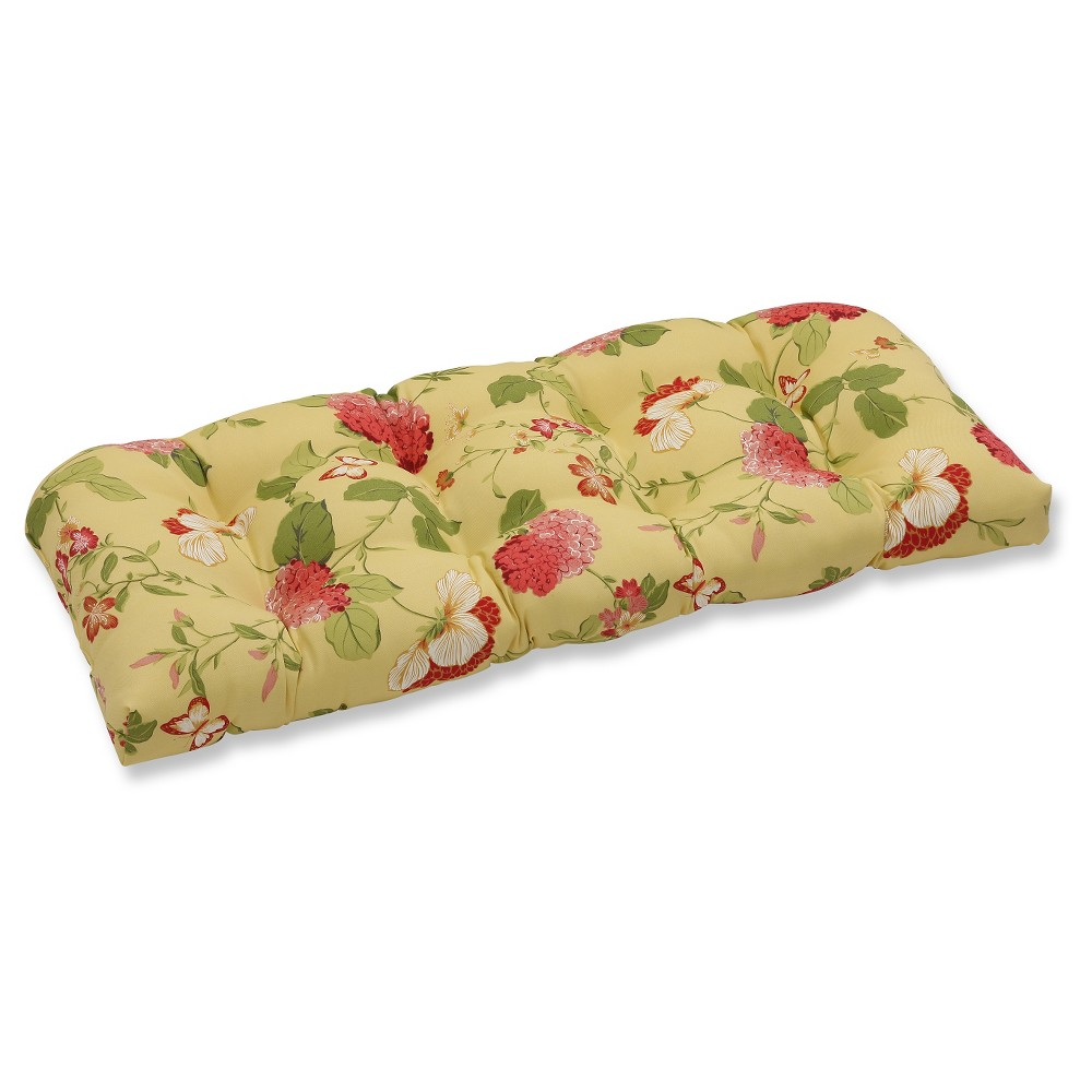 Outdoor Wicker Loveseat Cushion Yellow Red Floral Pillow Perfect
