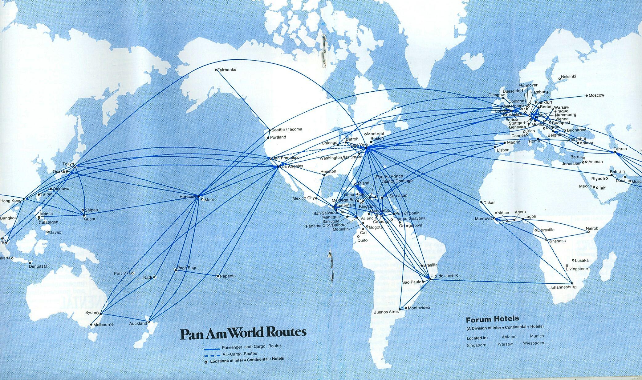 Route map 1978. Pan American World Airways
