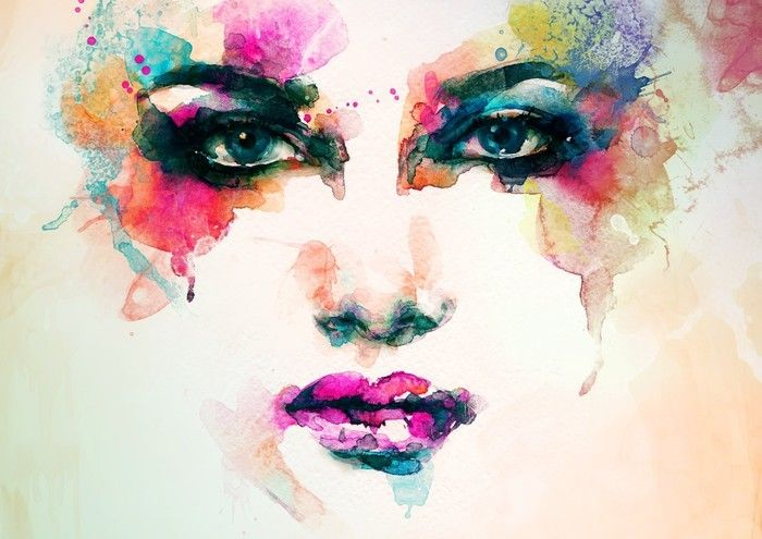 Woman Portrait Abstract Watercolor Fashion Background Wall Mural