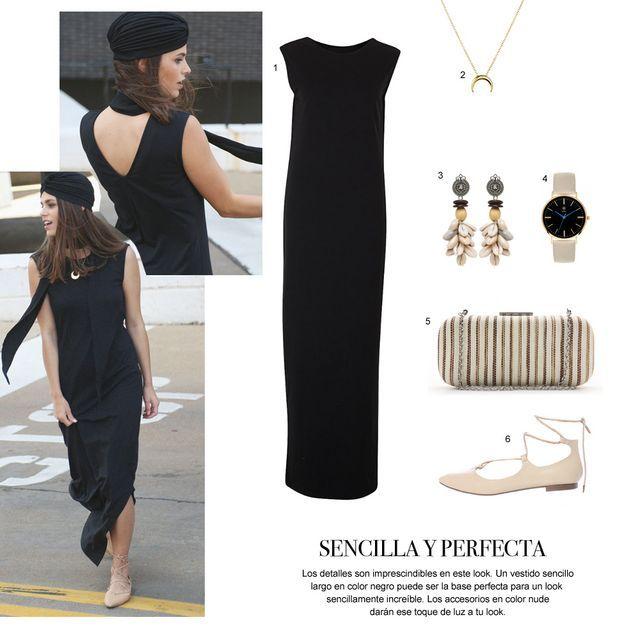 Como combinar un vestido color negro largo